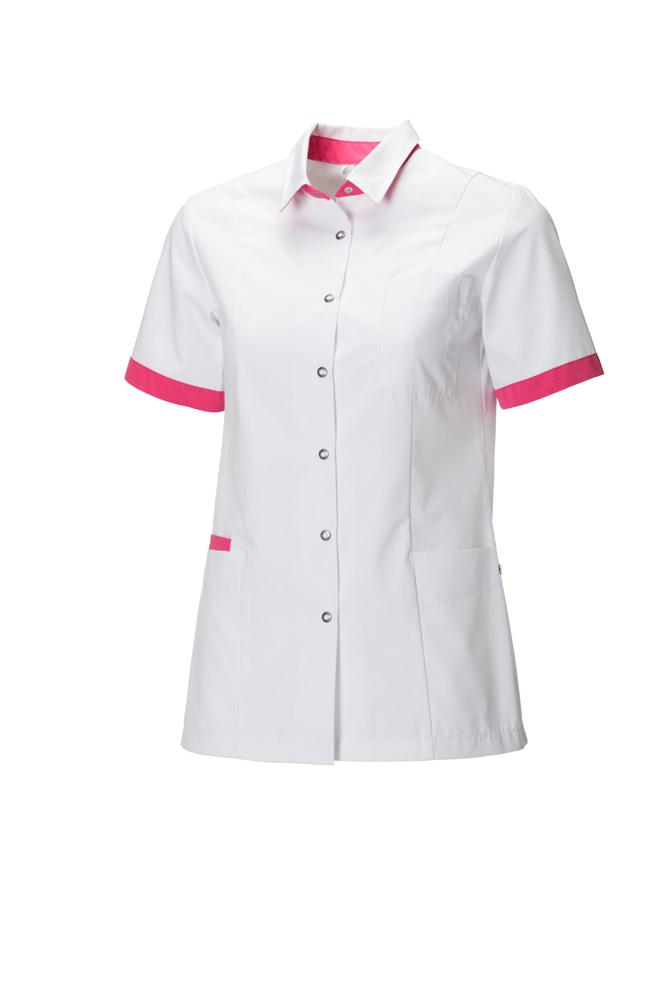 Bedrijfskleding blouse wit met roze