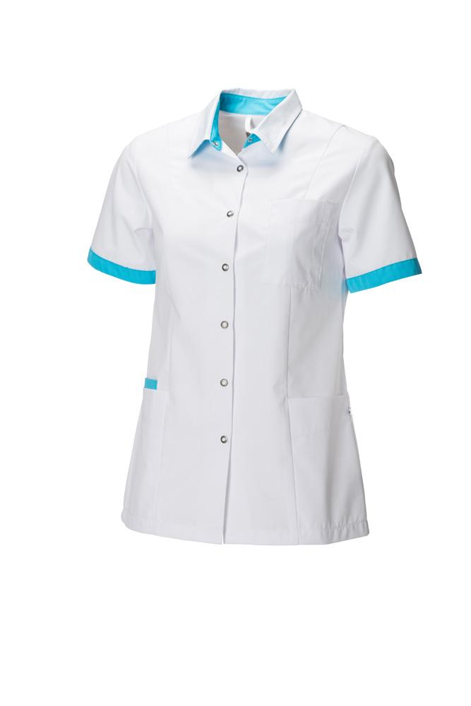 Bedrijfskleding blouse wit met blauwe bies