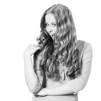 Portretfoto, breed lachende vrouw
